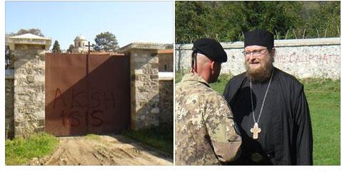 Графити и о. Сава Јањић (Извор: Фејсбук страница манастира Високи Дечани)