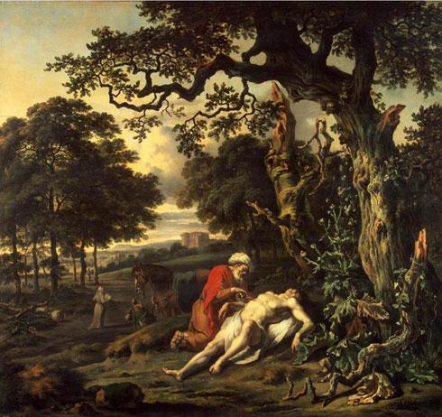 """Парабола О добром Самарјанину, Рембрант, средина 17. века. Прво и главно питање је """"Шта ћу чинити да добијем живот вечни?"""" Сама прича јесте одговор на питање ко ти је ближњи. Али заправо се ради о томе да прво ти треба да научиш да будеш неком заиста ближњи, а то значи да покажеш љубав као Самарјанин. Теби могу бити ближњи и тај свештеник и тај левит али ти њима ниси ближњи. А то и није услов твог чињења добра, у љубави. Најважнија је порука на крају """"Иди, и ти чини тако."""" Парабола постаје сасвим конкретно упутство за све оне који се сматрају хришћанима. Чинимо добро свим људима без обзира на њихову националност и припадност-неприпадност Цркви. Сви треба да нам буду ближњи."""
