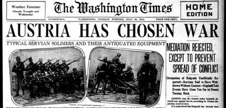 """Насловна страна """"Вашинтон тајмса"""" 28. јула 1914. године"""