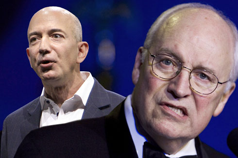 Jeff Bezos, Dick Cheney (Credit: AP/Reed Saxon/Manuel Balce Ceneta/Photo montage by Salon)