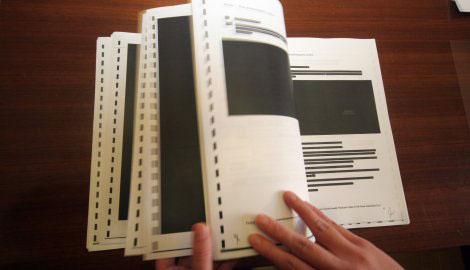 """Цензурисани уговор са """"Фијатом"""" о заједничком улагању у Крагујевцу који је држава послала Савету за борбу против корупције 2. новембра 2011. године; фото: """"Блиц"""""""