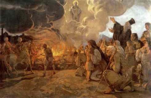Урош Предић: Спаљивање моштију Светог Саве, уље на платну