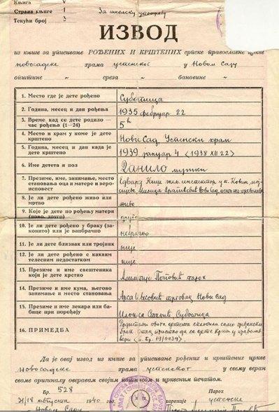 Кишов Извод из књиге рођених и крштених СПЦ