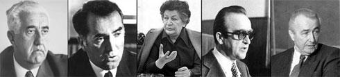 """Председници југословенске владе (СИВ) у периоду 1971-1991 (фото: """"Википедија""""):Џемал Биједић, Веселин Ђурановић, Милка Планинц, Бранко Микулић и Анте Марковић"""