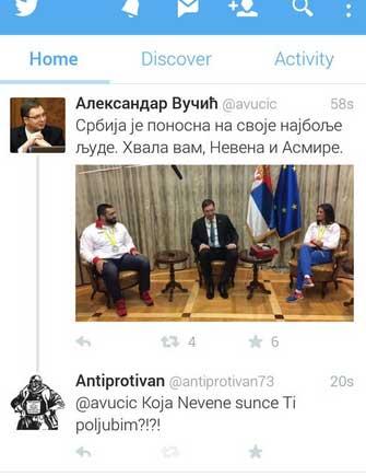 Твит на званичном налогу Александра Вучића који је послужио као инспирација за ову сатиричну вест