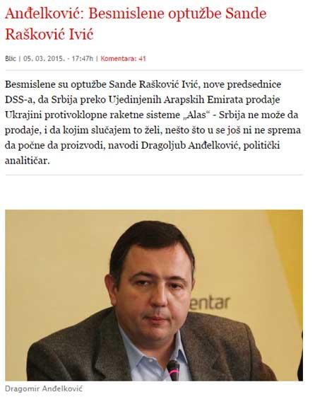 """Реаговање Д. Анђелковића у """"Блицу"""""""