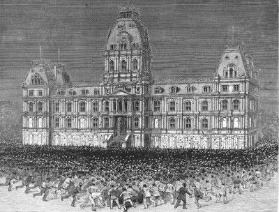 Цртеж анти-вакцинационих демонстрација у Лестеру, 1885. г. (Извор: Immunize USA)