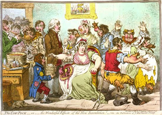 """Карикатура из 1802. г. која приказује хистерију до које је дошло око вакцинације """"крављим богињама"""" (Wikimedia)"""
