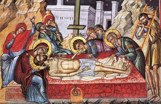 Велики петак. Оплакивање Христа. Фреска манастира Дионисијат, Атон