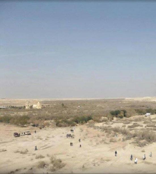 Поглед ка светој реци Јордан. Преко реке Јордана је и држава Јордан