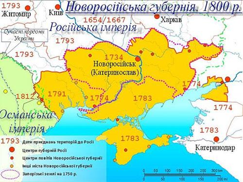 """Новорусијска губернија 1800. године, извор: """"Википедија"""""""
