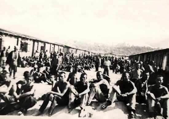 Заточеници логора Сајмиште у оближњем радном логору на ушћу Саве у Дунав (Википедија)