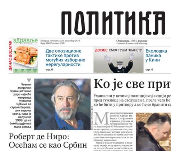 """Де Ниро се """"осећа као Србин"""" и на насловној страни Политике"""