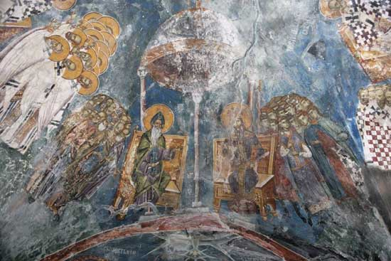 Сабор Светог Симеона Немање и сабор Светог краља Милутина (Фреска из Пећке патријаршије)