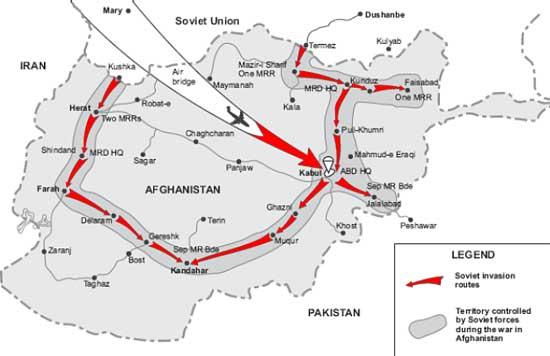 Мапа совјетског рата у Авганистану