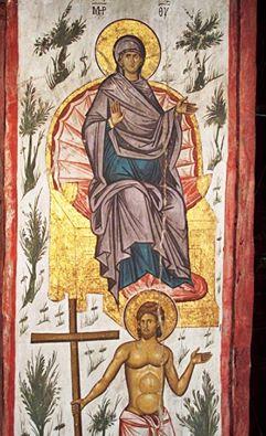 Пресвета Богородица и покајани разбојник у манастиру Дечани, Србија
