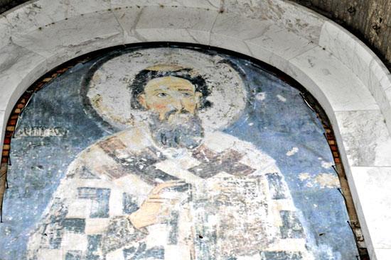 Фреска с ликом святителя Саввы в белградском храме. Фото Елены Оганесян.