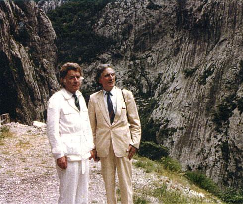 Комнен Бећировић са Францом Вебером у кањону Мораче, крајем јуна 1988,