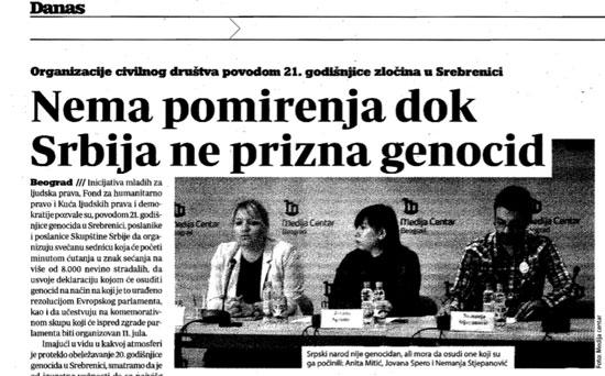 """""""Нема помирења без признања геноцида у Сребреници"""" (Данас, 11. јун 2016)"""