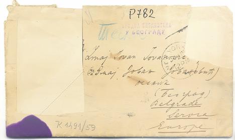Оригинално писмо и коверат библиотека је купила 1959. године (Фото Народна библиотека Србије)