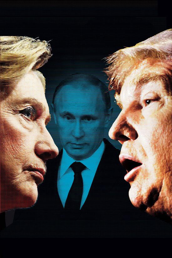 Хилари Клинтон и Доналд Трамп, у позадини Владимир Путин