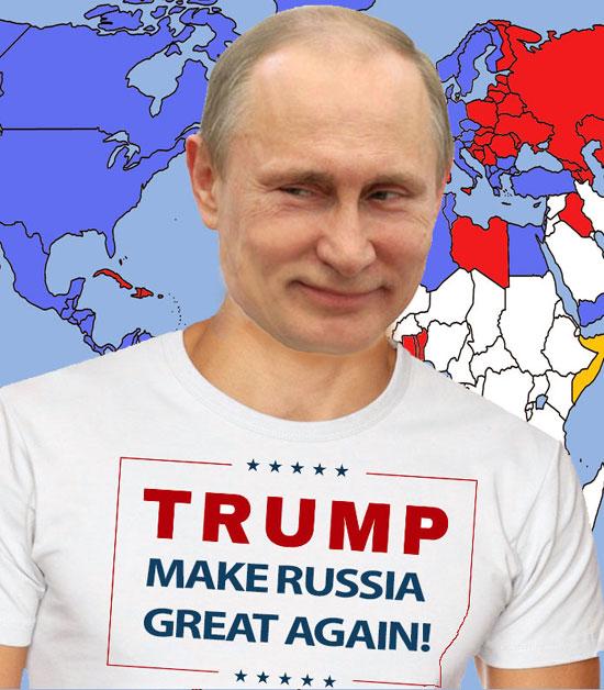 """Монтажа приказује Путина са натписом """"Трамп ће направити Русију опет великом"""""""