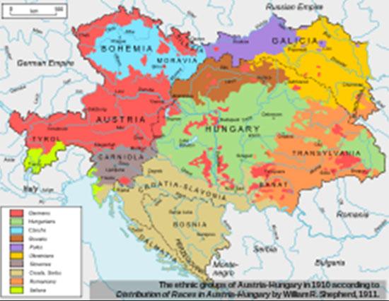 Етничка карта Аустроугарске 1910. године