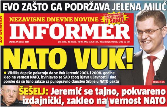 Део кампање против Јеремића: Информер од 17. јануара 2017.
