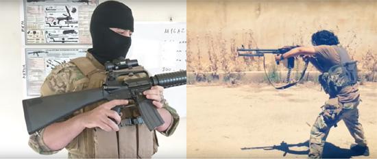 """Лево: Члан Малхама тактикала објашњава како раставити и саставити """"јуришну пушку"""" М16 (Фото: Malhama Tactical/YouTube). Десно: Члан Малхама тактикала тестира митраљез PKM (Фото: Malhama Tactical/YouTube)"""