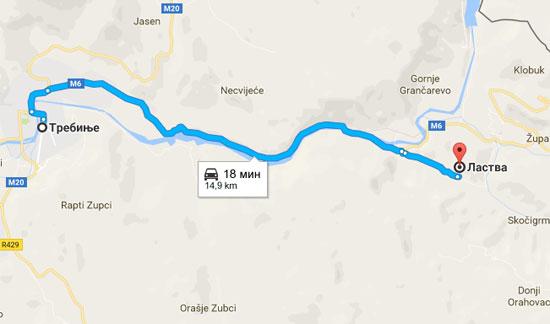 Ластва је удаљена 15 километара од Требиња